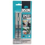 Adeziv epoxidic Bison EPOXY METAL, culoare metalica, bicomponent - 2x12ml